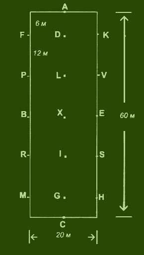 Схема манежа 20х60 м.